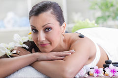 Beautiful woman in massages salon Royalty Free Stock Image