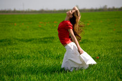 Beautiful woman in meadow Royalty Free Stock Photos
