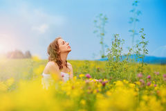 Beautiful woman on a meadow. Royalty Free Stock Images