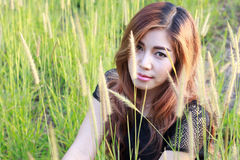 Beautiful woman in meadow grass. Portrait of asian. Stock Image