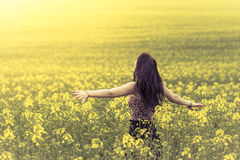 Beautiful woman in meadow of yellow flowers from behind. Attractive genuine young girl enjoying the warm summer sun in a wide green and yellow meadow. Part of Stock Photo