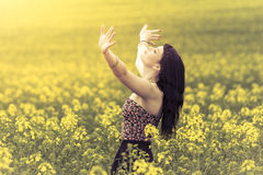 Beautiful woman in meadow of yellow flowers with hands up. Attractive genuine young girl enjoying the warm summer sun in a wide green and yellow meadow. Part of Royalty Free Stock Photography