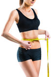 Beautiful woman measuring her waist with measuring tape Stock Images