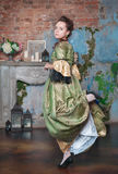Beautiful woman in medieval dress dancing Stock Images