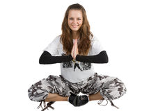 Beautiful woman meditating Stock Image