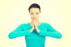 Beautiful woman in meditation. Stock Photo