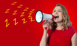 Beautiful woman with megaphone Royalty Free Stock Photos