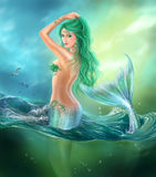 Beautiful woman mermaid fantasy at ocean with Green Hair & Lilies. Illustration Beautiful Fantasy mermaid in water. digital painting Royalty Free Stock Photos