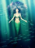 Beautiful woman mermaid in the sea Royalty Free Stock Images
