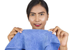 Beautiful woman with a microfiber cloth. Stock Photo
