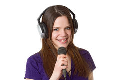 Beautiful woman with microphone Royalty Free Stock Images