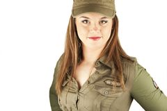 Beautiful woman in military clothes Royalty Free Stock Photography