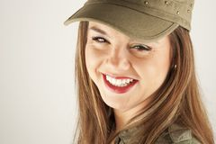 Beautiful woman in military clothes Royalty Free Stock Image