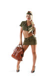 Beautiful woman in military clothes with bag Royalty Free Stock Photography