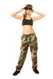 Beautiful woman in military clothes isolated Stock Image