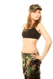 Beautiful woman in military clothes isolated Stock Photos