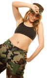 Beautiful woman in military clothes isolated Stock Photo