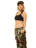 Beautiful woman in military clothes isolated Royalty Free Stock Photos