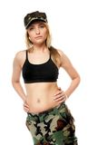 Beautiful woman in military clothes. Royalty Free Stock Photo