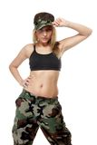 Beautiful woman in military clothes. Stock Photography