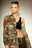 Beautiful woman in military clothes Royalty Free Stock Photo