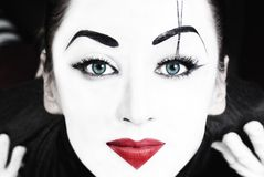 Beautiful woman mime with blue eyes Royalty Free Stock Image
