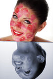 Beautiful woman and mirror Stock Photos