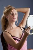 Beautiful woman with mirror Stock Photos