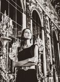 Beautiful woman in mirror`s hall of Versailles castle. Image in black and white color style stock images