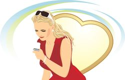 Beautiful woman with a mobile telephone Stock Photo