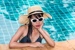 Beautiful woman model in bikini and sunglasses fashion relaxing. In resort, summer swimming pool water on holidays royalty free stock photos