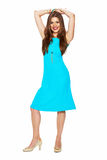 Beautiful woman model in cocktail blue dress full body portrait Royalty Free Stock Photography