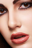Beautiful woman model with fashion glamour make-up stock photography