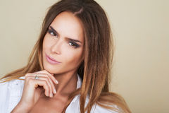 Beautiful woman model with fresh daily makeup and romantic look Royalty Free Stock Photography