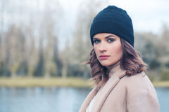 Beautiful Woman Model in  Hat Outdoors Royalty Free Stock Photography