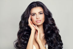 Beautiful Woman Model with Healthy Hair and Skin. Beautiful Woman Model with Long Healthy Hairstyle and Clear Skin Stock Images