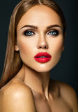 Beautiful woman model lady with fresh daily makeup Stock Photos