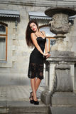 Beautiful woman model near the old architecture Royalty Free Stock Images