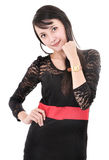 Beautiful woman model posing in elegant dress Royalty Free Stock Photo