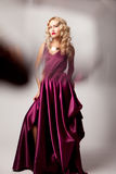 Beautiful woman model posing in elegant dress Royalty Free Stock Image