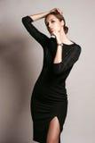 Beautiful woman model posing in elegant dress Stock Photography