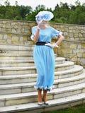 Beautiful Woman Model in Vintage Dress  Royalty Free Stock Photo