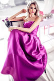 Beautiful woman in modern home royalty free stock photos