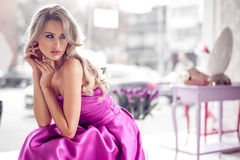Beautiful woman in modern home royalty free stock photo