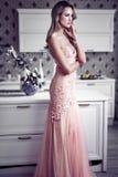 Beautiful woman in modern home stock photo
