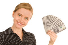 Beautiful woman with money Royalty Free Stock Images