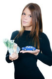 The beautiful woman with money and toy car royalty free stock image