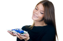The beautiful woman with money and toy car Royalty Free Stock Images