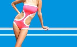 Beautiful woman in monokini on vacation royalty free stock photos