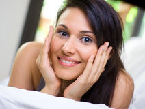 Beautiful woman at morning. With possitive attitude Stock Images